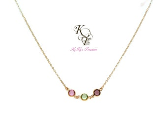 Customized Mothers Necklace - Gold Birthstone Necklace - Family Necklace - Gold Filled Necklace - Mother Necklace - Gold Necklace - Mom Gift