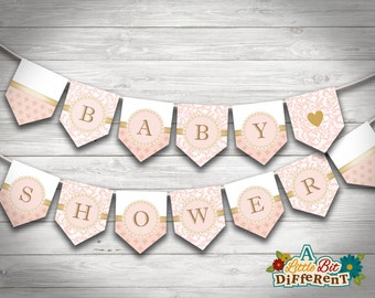 Pink and Gold Baby Shower Paper Bunting - INSTANT DOWNLOAD - printable PDF - Baby Shower Banner - Digital print - Baby Shower Sign baby flag