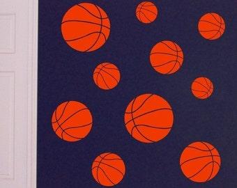 Basketball Wall Decals, bedroom decals, sport decor, basketball decal set, basketball stickers, vinyl wall art, sport ball decals