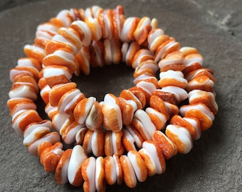 Orange spiny oyster disc beads