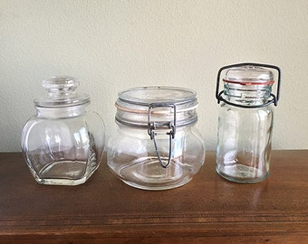 Ordinaire Set Of 3 Glass Storage Jars, Glass Jars With Rubber Seal And Wire Bale,  Made In Italy, Per Alimenti, Jar With Glass Stopper, Retro Kitchen