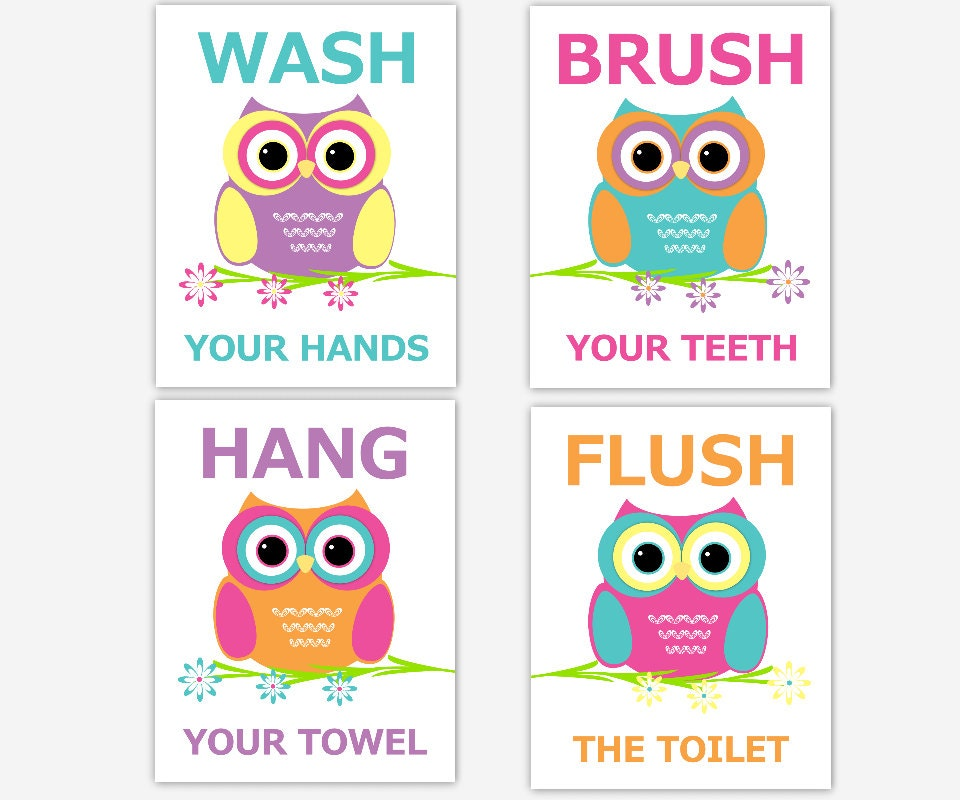 OWL Bathroom Wall Art Kids Bath Children Prints