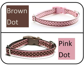 """Brown Dots on Pink or Pink Dots on Brown - Thin Dog Collar - 1/2"""" (13mm) - yor choice of color, size and style - custom dog collar"""