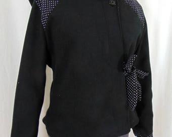 Black short jacket with polka dots and fairy hood