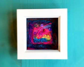 Vibrant abstract textile art: turquoise, red, pink, wool felt and recycled fabric picture, unique
