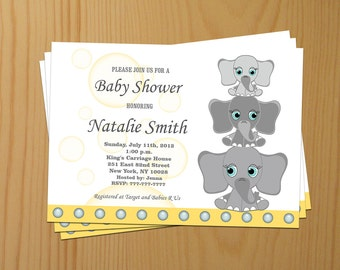 Boy Baby Shower Invitations for Boys Printable Elephant Baby Shower Invitation Elephant Boy Baby Shower Invites - FREE Thank You cards (l3)