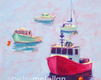 Maine Landscape - Maine Lobster Boats - Paper - Canvas - Wood Block - Giclee Print