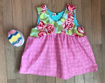 Girls Easter Top / Girls Easter Bunny Top / Spring Top / Girls Floral Rose Top / Easter Top / Rose Top / Babys First Easter / Size NB-6