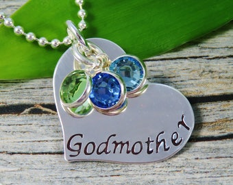 Ready to Ship - Hand Stamped Jewelry - Personalized Jewelry - Godmother Necklace - Sterling Silver Heart Necklace - Three Birthstones