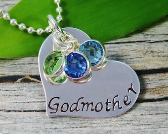 Prêt à envoyer - tamponné bijoux - Personalized Bijoux - Collier marraine - Collier coeur en argent Sterling - trois pierres de naissance