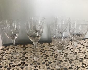 Set if 6 Vintage Wine Glasses Cut Glass Wheat Pattern