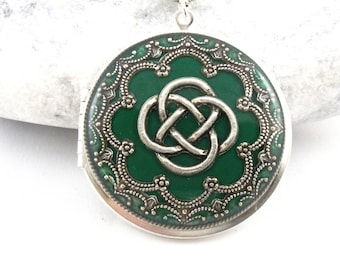 Green Celtic Knot Locket, Silver Locket, Valentine Gift For Her, Holiday Gift For Her.