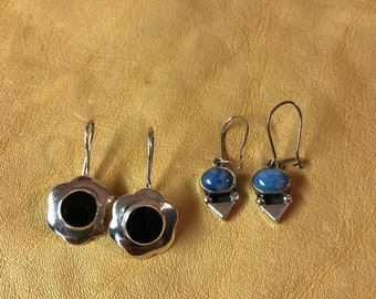 Onyx and Sodalite Sterling Earrings
