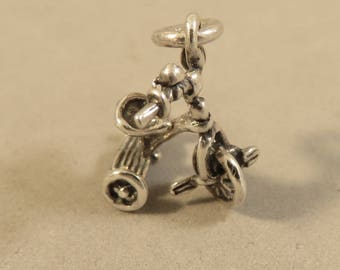 TRICYCLE .925 Sterling Silver 3-D Charm Pendant Child Kids First Bike Trike Bicycle Toy New ba30