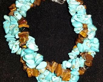 Desert Spirit Bracelet (Dyed Turquoise/Tiger's Eye)