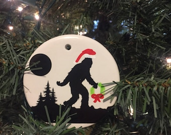 Funny Christmas ornament, is it time for Christmas Yeti ? an abominable pun, Sasquatch wood santa do ?