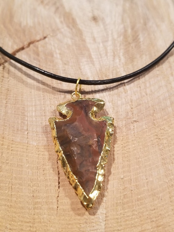 Gold Edged Stone Arrowhead Pendant Necklace Unique Native American Collection Earth Natural Hippie Boho Jewelry (N556)