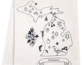 Michigan organic tea towel