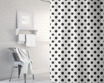 Polka Dot Shower Curtain, Ikat Bath Curtain, Girls Bathroom Decor, Fabric Shower Curtain, Standard or Extra Long, Black and White