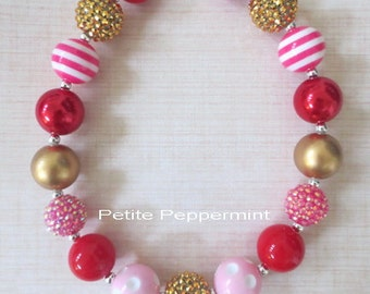 Red Pink Gold Toddler Chunky Necklace, Girls Bubblegum Chunky Necklace, Girls Bubble Gum Bead Necklace,Children Necklace, Necklace for girl