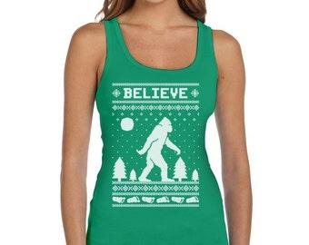 Bigfoot I Believe Sasquatch Ugly Christmas Women's Tank Top Vest