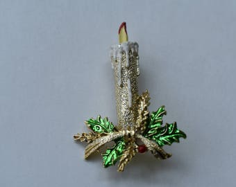 Brooch Gerry's Christmas Candle with Dripping Wax and Holly Vintage