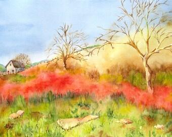 Paysage peinture aquarelle impression arbres et ferme la scène ferme décor California jaune art mural rouge peinture art vert naturel beauté N