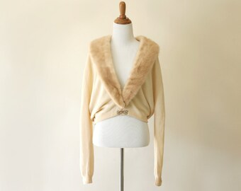 1950s vintage sweater / 50s cashmere fur collar cardigan: Last Holiday cardigan