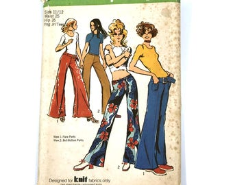 Sewing Pattern Flared and Bell-Bottom Hip-Hugger Pants and Belt Simplicity 9484 Vintage 1971 Uncut Factory Folded