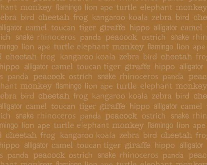 Zoofari - Words in Brown - Animal Cotton Quilt and Sewing Fabric - by Doodlebug Designs for Riley BlakeFabrics - C3034-BROWN (W549)