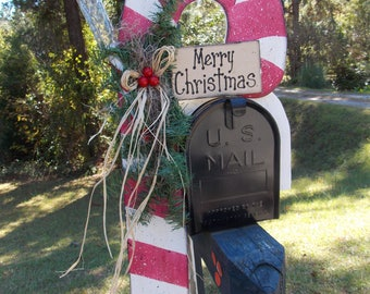 Candy Cane Mailbox Topper with Solar Light