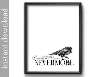 The Raven Printable, Quoth The Raven, Nevermore, anti Valentine, Edgar Allan Poe, Goth decor, goth print, goth wall art, Halloween decor