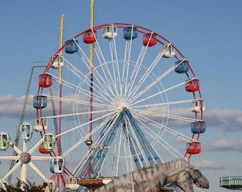 Ferris Wheel Print, Boardwalk Photograph, Boy's Dinosaur Decor, Child's Wall Art, Nursery Art, Funtown Pier T-Rex, Seaside NJ Coastal Art