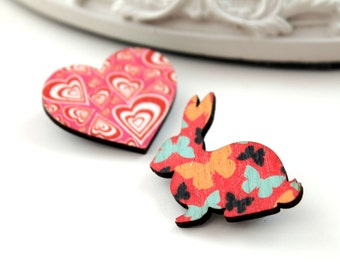 Bunny rabbit and heart wooden brooch set red orange