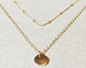Tiny gold disc, gold disc pendant, gold charm, gold necklace, layering necklace, thetrendyones, delicate necklace, initial necklace