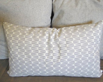 Organic Cotton Pillow Cover, Gray Leaves, 12x20, Grey and White, Monaluna, Lumbar Pillow,