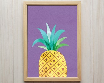 Pineapple - Modern Kitchen Wall Art, Abstract Fruit Artwork, Tropical Kitchen Poster, Pineapple Watercolor Print, Colorful Giclee Print