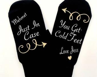 Groomsman Socks, Groomsmen Gift Just In Case You Get Cold Feet, Personalised Wedding Socks, Groom Socks, Wedding Gift, Groomsmen Gift Box