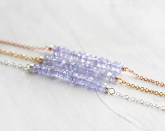 Tanzanite bar necklace, December birthstone jewelry, Dainty gemstone necklace in gold, rose gold or silver, Tanzanite jewelry, Gift for her