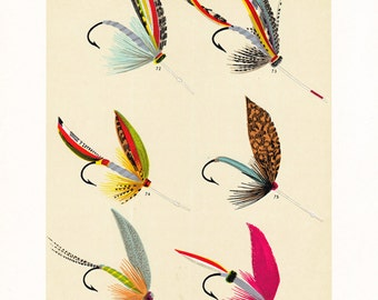fly fishing print from the 19th century, printable digital download, collage sheet no. 950.