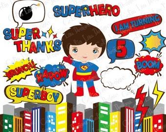 Super Hero Pop art Text Clipart 4 (S018), Super Hero bubbles clip art / Superhero clipart/ Photo booth props / INSTANT DOWNLOAD