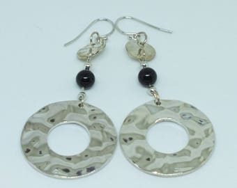 Silver dangle earrings with black Swarovksi pearls and silver textured rings