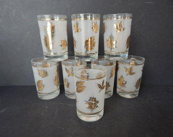 """Set of 8 Libbey Flat Juice Glasses Gold Leaves Frosted 3 3/4"""" Tumblers"""