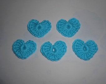 Set of 5 crochet hearts - 4cm approx. wool Turquoise, applique - decorating, scrapbooking, hat, etc.