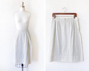"""polka dot skirt, vintage white and navy polka dot midi skirt, high waisted white skirt, 28"""" waist, medium"""