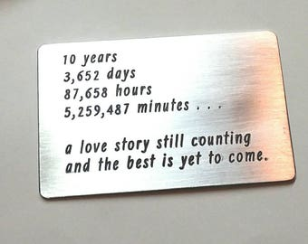 READY TO SHIP ~ 10 ten tin year Anniversary Gift ~ Wallet insert love note card  ~ Traditional Aluminum Gift ~