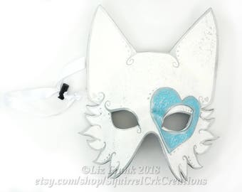 Wolf Mask, Leather Heart Wolf Costume, Animal mask, Mardi Gras, Valentines Day Costume, Cosplay, LARP, Love, Half Face Animal Mask, Fox Mask