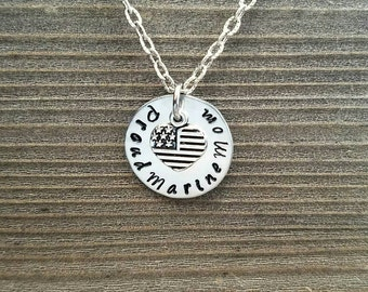 Handstamped PROUD MARINE MOM Necklace/Personalized/Military/Gift For Mother or Clip On Bling