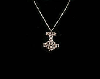 Stainless Thor's hammer chainmaille pendant w/chain