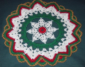 Crochet Doily, Star in center, surrounded by double layer of chevron